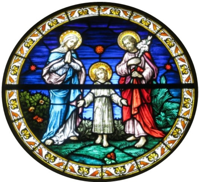 Holy Family in Stained Glass